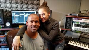 MC n actress Andrea St. Martine n the lab