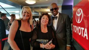 Sarah n MC Burton with actress Margo Martindale at Emmy's