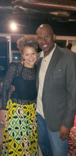 Jazz singer, actress n co-founder of Blackbird, Michole White n MC at the Blackbird opening.